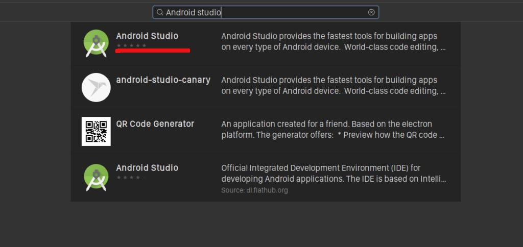 Android Studio in Ubuntu Software
