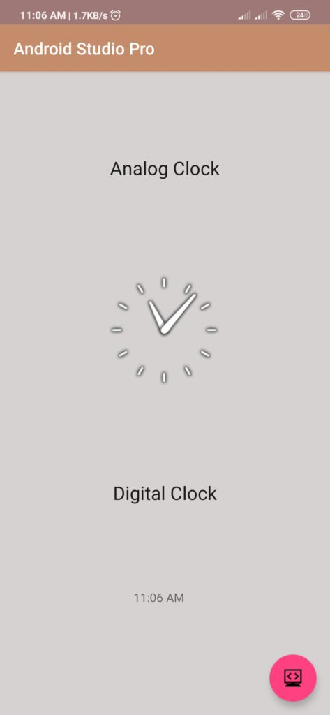 analog and digital clock in android studio