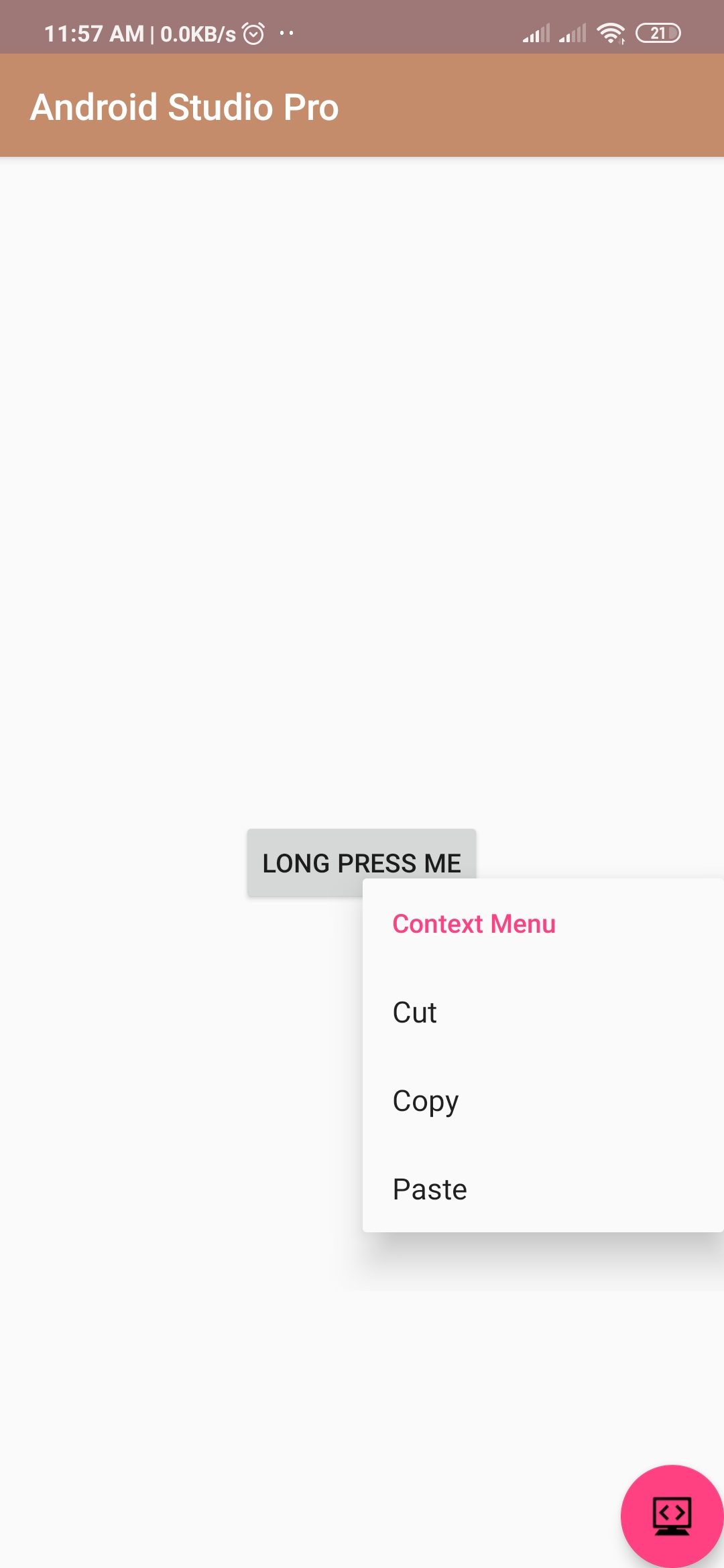 context menu in android