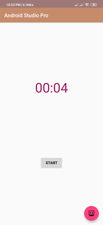 stopwatch in android studio source code