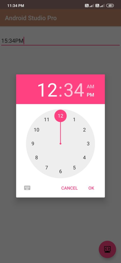 time picker in android studio