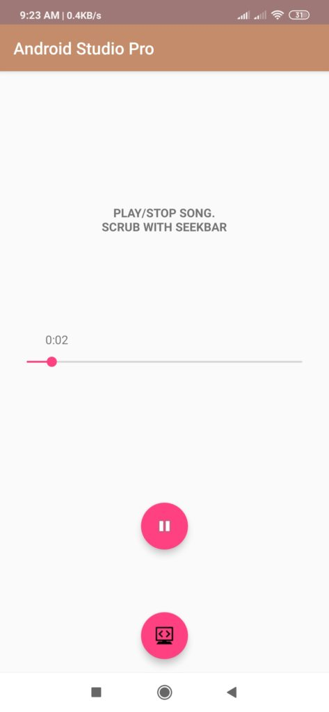 mp3 player in android studio