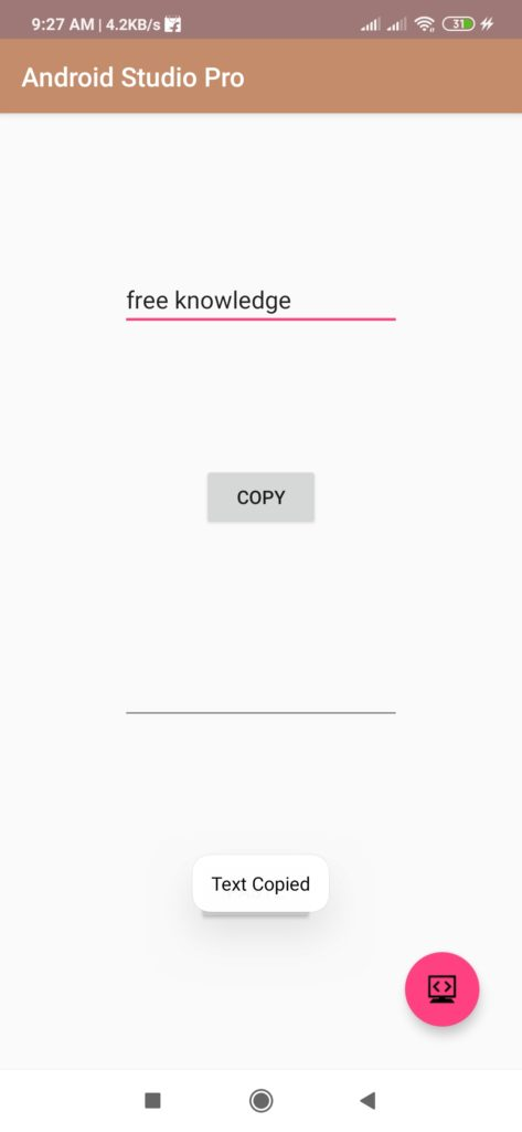 copy text to clipboard in android studio
