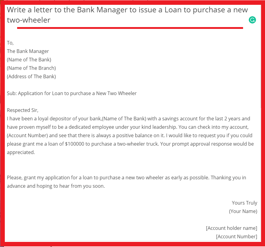 Application to the Bank Manager regarding Education Loan