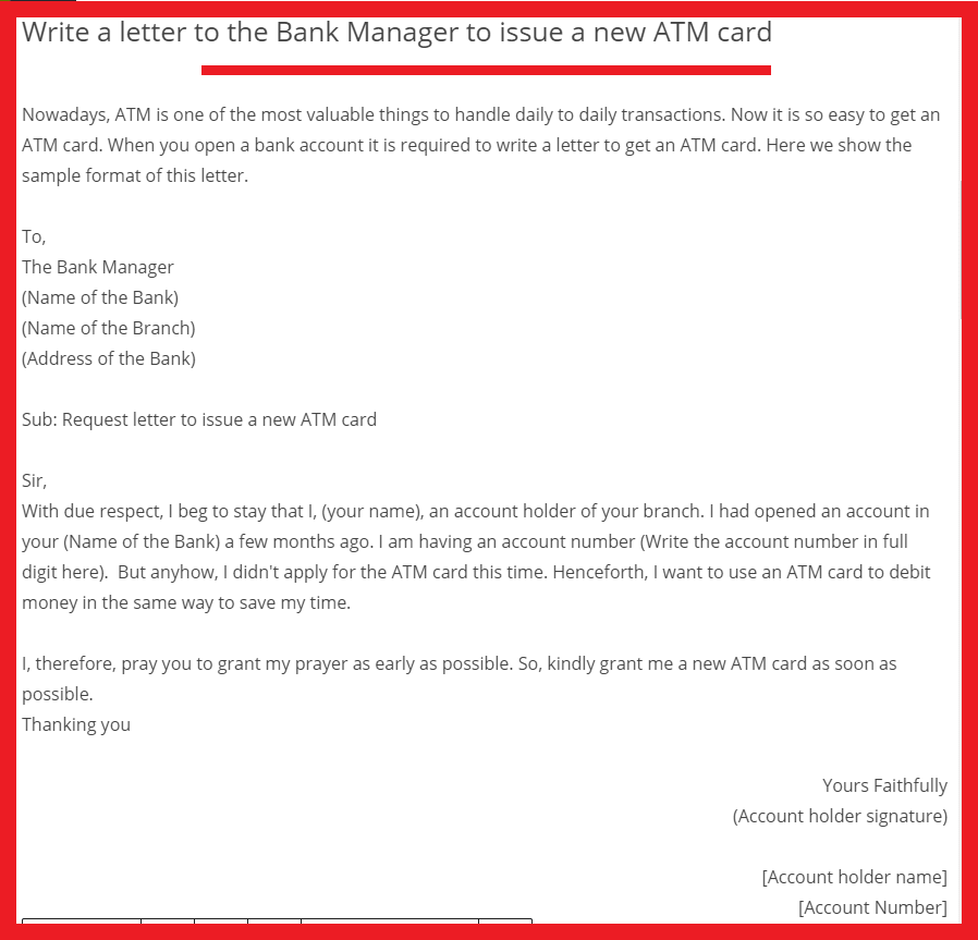 letter to the Bank Manager to issue a new ATM card