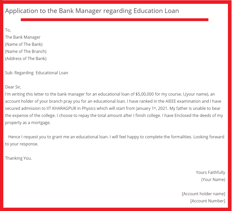 write a letter to the bank manager
