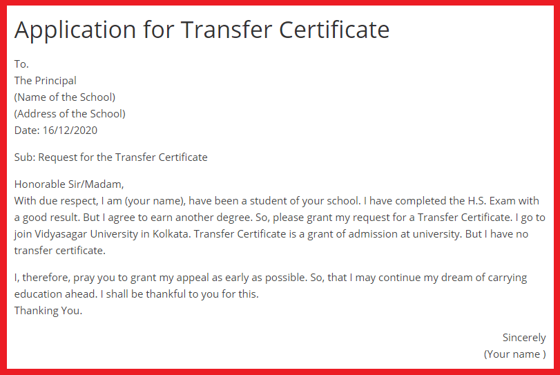 write an application for transfer certificate