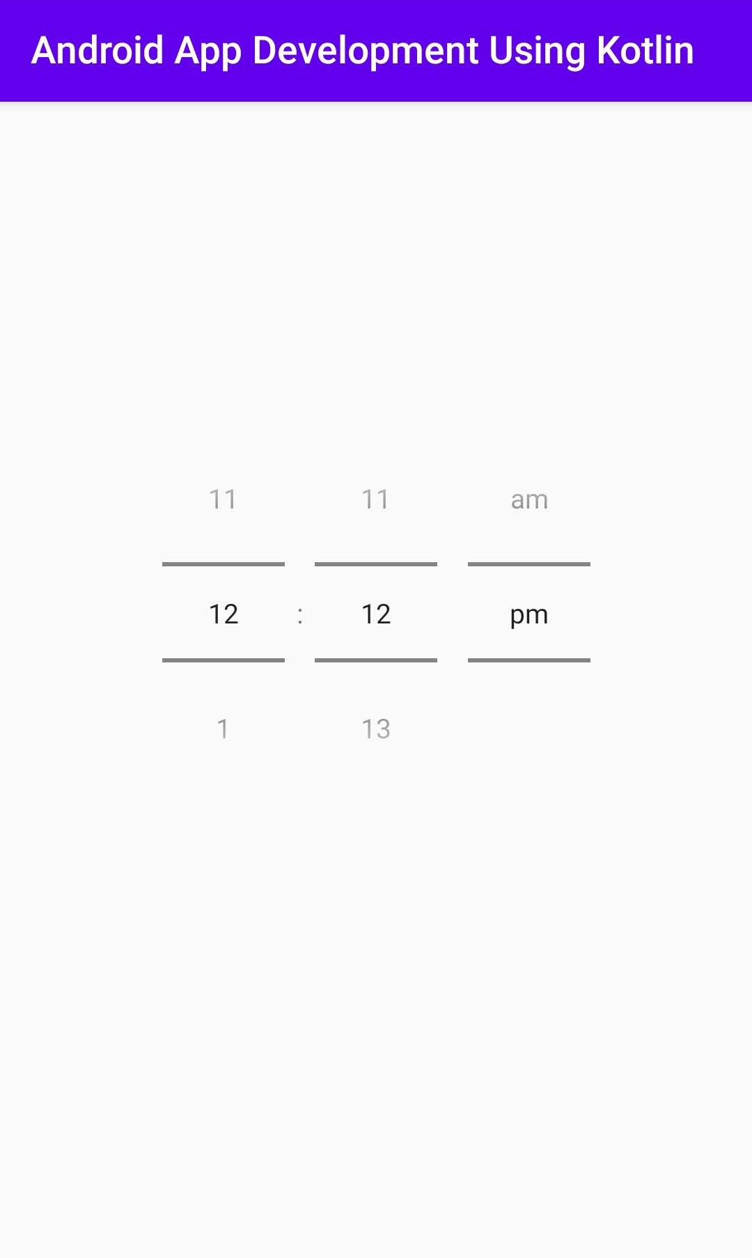 Timepicker Android Kotlin Example in Android Studio